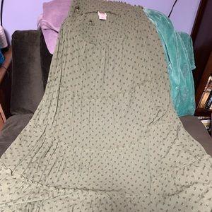 Pretty olive maxi skirt